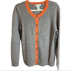 Orvis Lambswool Button Front Cardigan Orange Trim Size Large